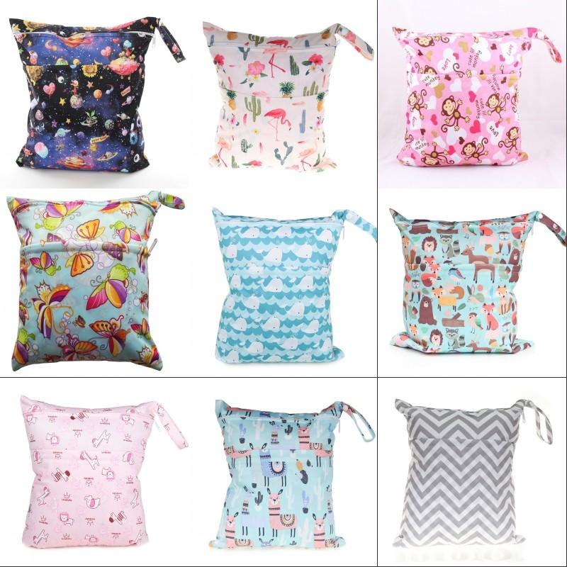 Baby Go Out Diaper Bag Double Zipper Elephant Unicorn Giraffe Printing Storage Bags SGS Authentication Hot Sale 9ts J2