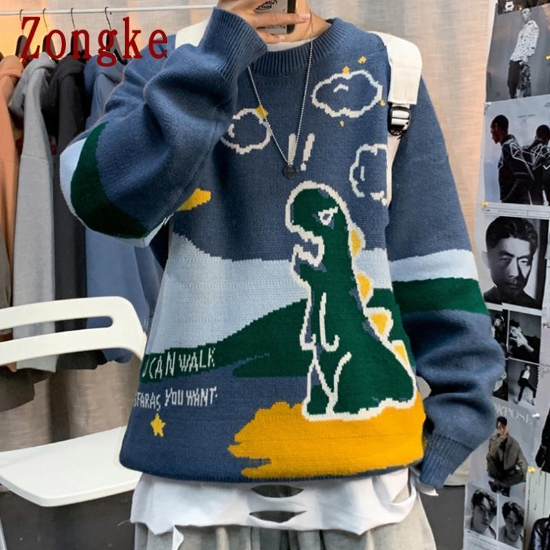Suéter dos homens Zongke Dinossauros Camisola de malha Roupa Pull Mens Inverno Homens Roupas Pullover 2021 Outono M-2XL