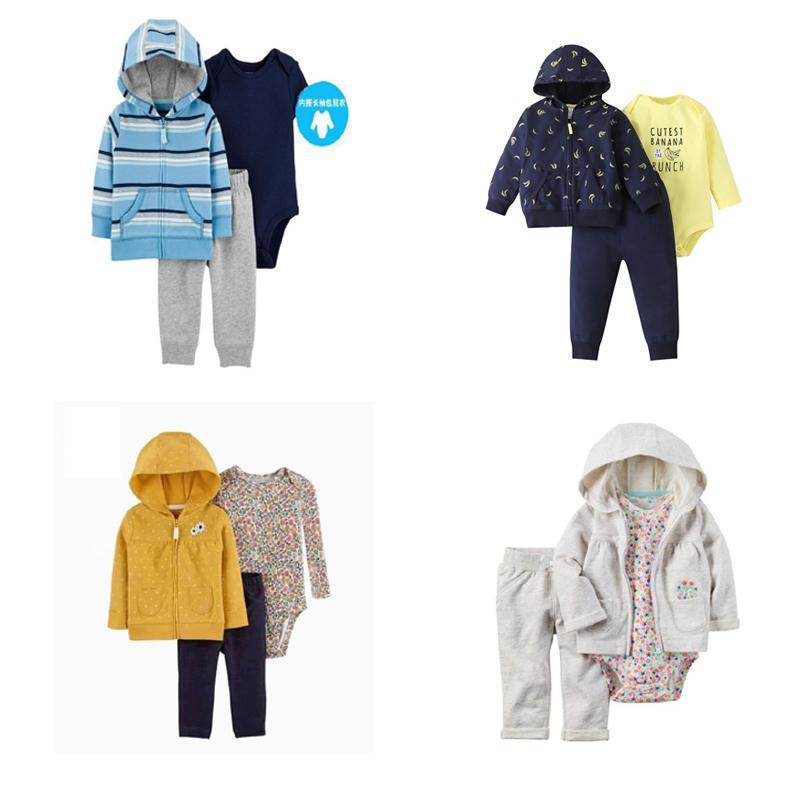 Осень детская одежда для одежды с капюшоном с капюшоном с капюшоном с капюшоном + ползунка + брюки новорожденного мальчика одежда хлопчатобумажная 3шт наряды малыша падение 201114