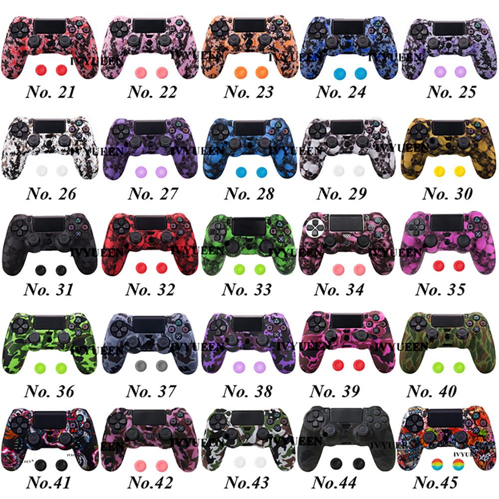45 Colors Anti Slip Silicone Protective Skin Case For Sony PlayStation 4 PS4 DS4 Pro Slim Controller Thumb Grip Caps