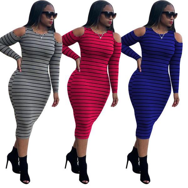 Kadın Tek Parça Elbise Tasarımcısı Çizgili Kapalı Omuz Uzun Kollu Rahat Elbiseler Bayanlar Bodysuit MIDI Etek Artı Boyutu Rahat Giysileri
