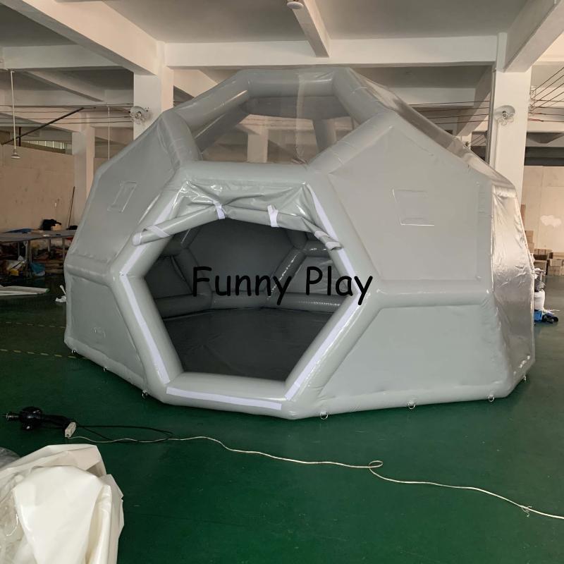 Polígono inflable medio de fútbol claro tienda de fútbol inflable House House Famaily Backyard Tienda, PVC Ocio Camping Tienda
