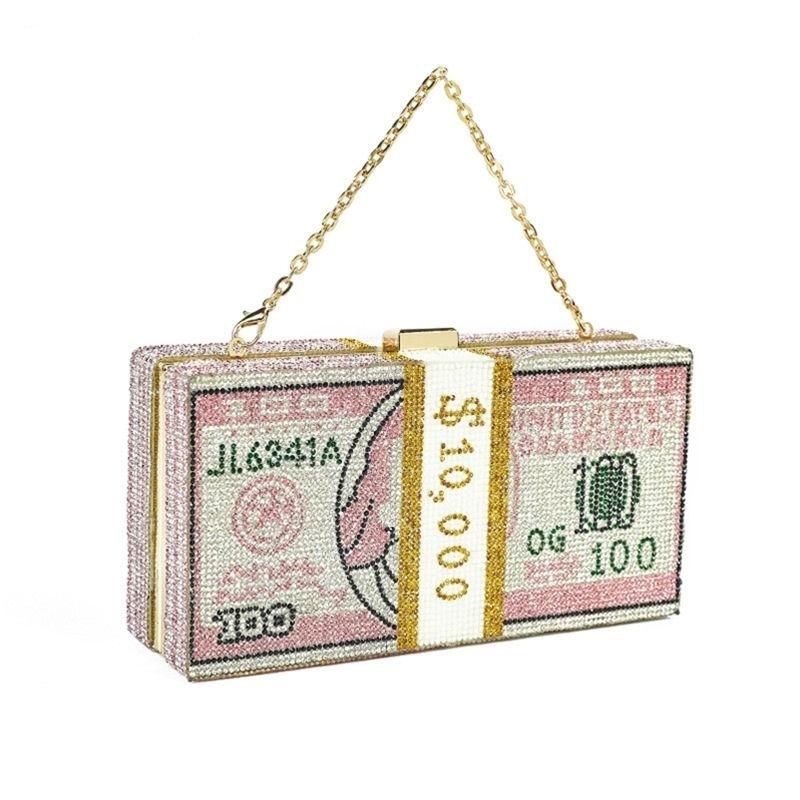 Bee in Fly New Crystal Money Sacs USD Sacs Dollar Design Diamant de luxe Diamond Parti de soirée Embrayage Y201224