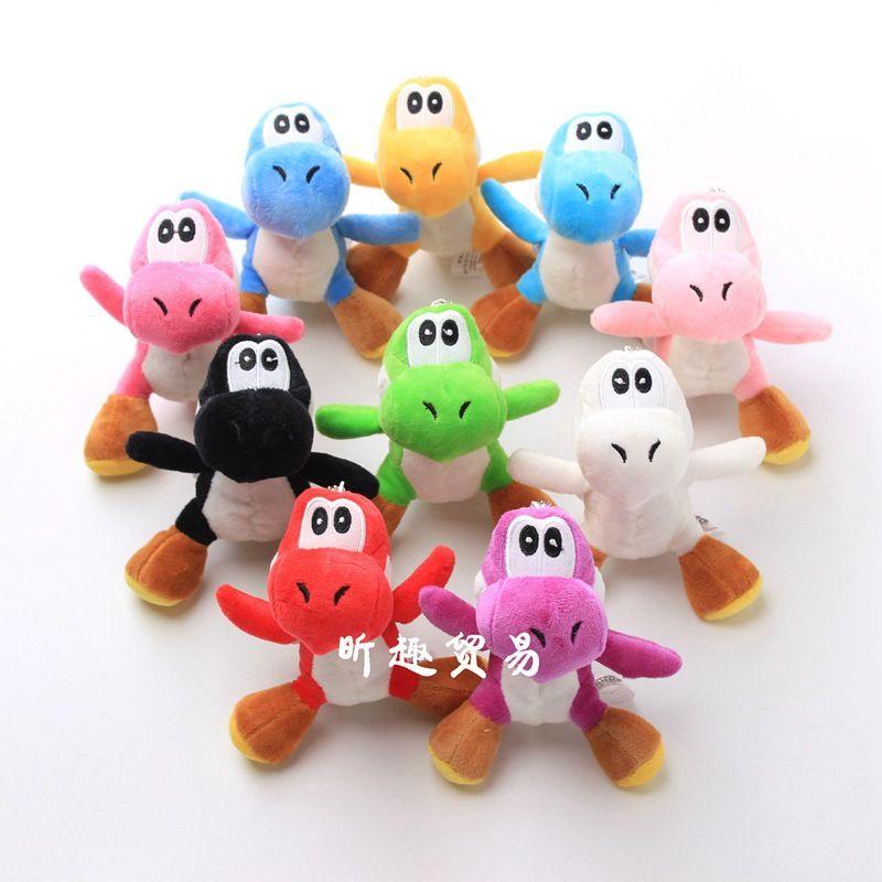 10 Farben Weihnachtsdesign Dinosaurier Plüschspielzeug Anhänger mit Keychain Gefüllte Puppengeschenk 4 Zoll 12 cm Freies Verschiffen