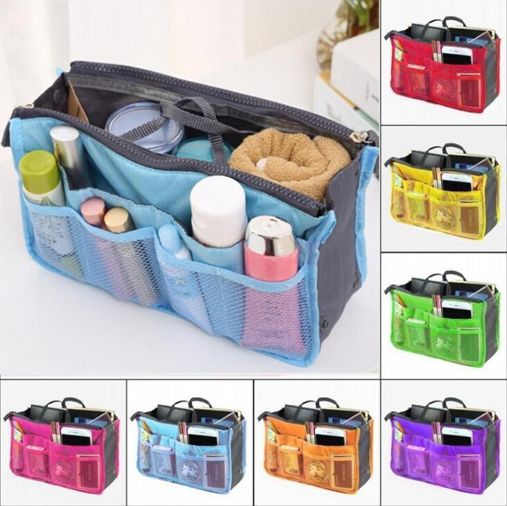 Bolsas de cosméticos aseo portátil de maquillaje de maquillaje bolsa de organizador en bolsas bolsas de almacenamiento de doble cremallera Totes 14 colores NWB3445