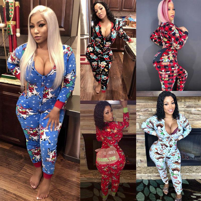 New Winter Women Onesies Casual V-neck Hooded Christmas Printed Jumpsuit Long Sleeve Home Wear Slim Rompers Ladies Fashion Clothing