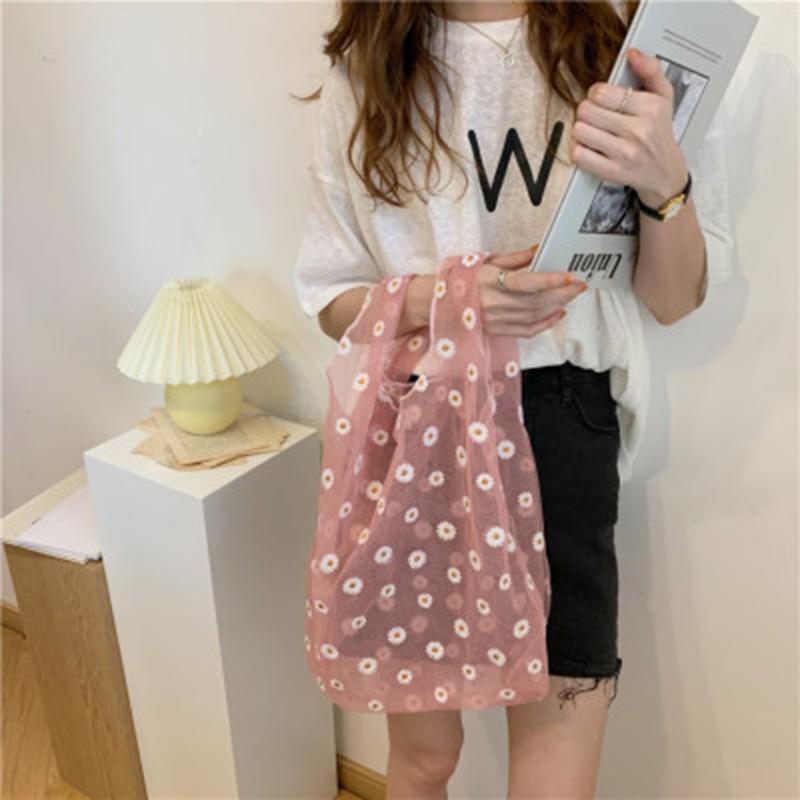 Shopping Bags Summer Donne Piccolo Borsa da maglia TOTE TOTE TRASPARENTE TRASPARENTE BAGNA DAISTA HAAISY Handbag Eco Friendly Fruit Borsa per le ragazze