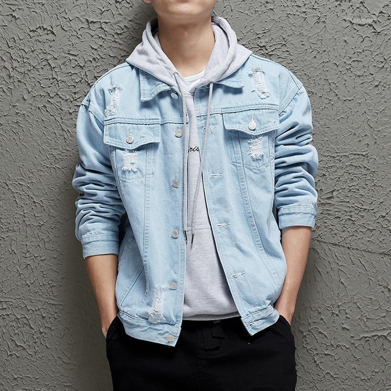 Agujero de primavera para hombres suelta Chaqueta de mezclilla de alta calidad para hombres Moda de otoño de color sólido Color de algodón chaqueta de algodón Tamaño asiático S-2XL1