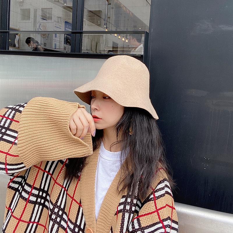 Yünlü Bez Büyük Kenar Kova Balıkçı şapkası kadın Sonbahar ve Kış Marka Moda Ve Çok Yönlü Siyah Havzası Şapka Klwe