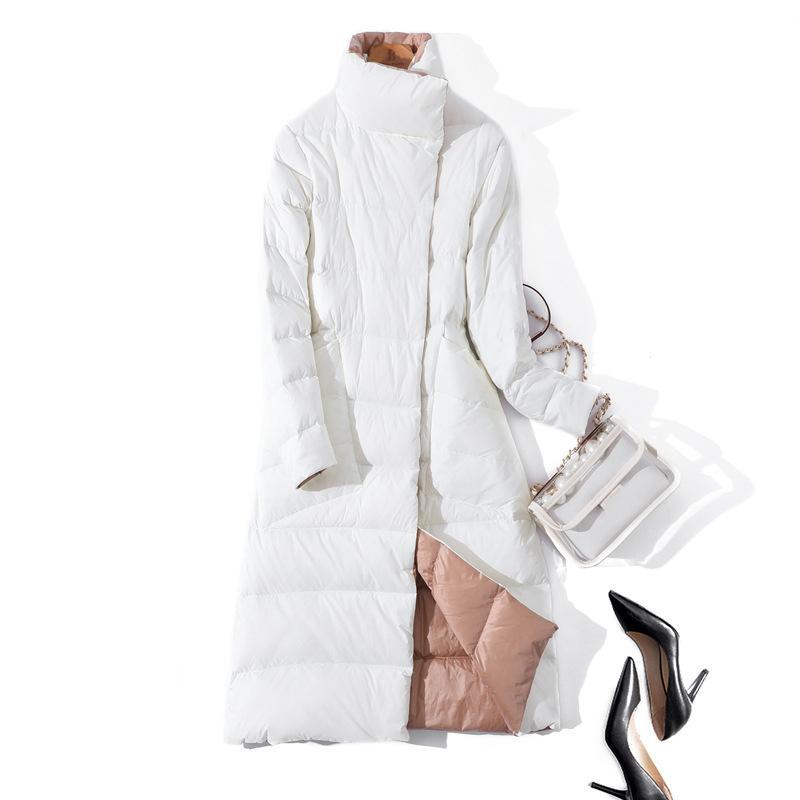 2020 Женщины Зимнее пальто Стенд Воротник Белый Утка Внутренние Женщины Легкая Длинная Куртка Пальто Женщины Пальто Casaco Feminino Parkas C1204