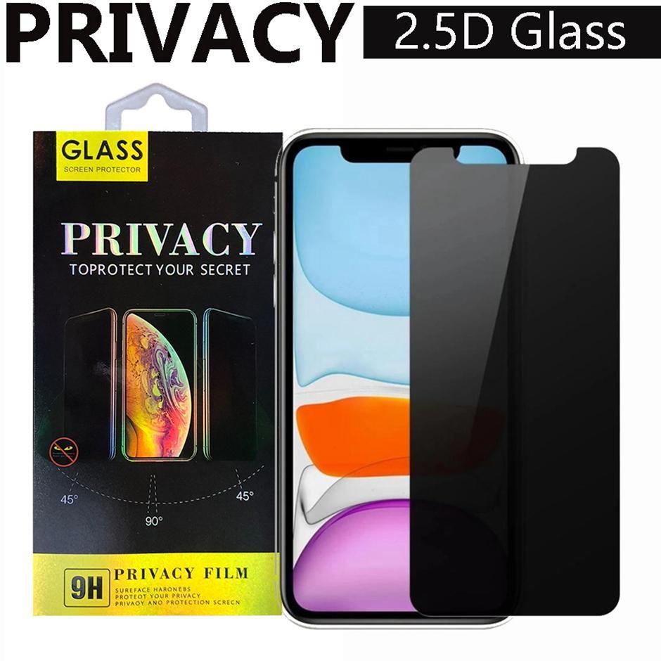Privacidad Anti-Peeping Anti-Spy 2.5D Vidrio templado para iPhone 12 Mini Pro Max 11 XR XS MAX 7 8PLUS Protector de pantalla con paquete