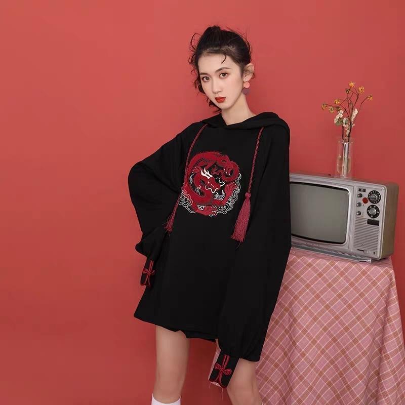 2020 Migliorato FengGuochao Ricamo Allentato grande grasso mm maglione con cappuccio maglione addensato Top per NVQIU
