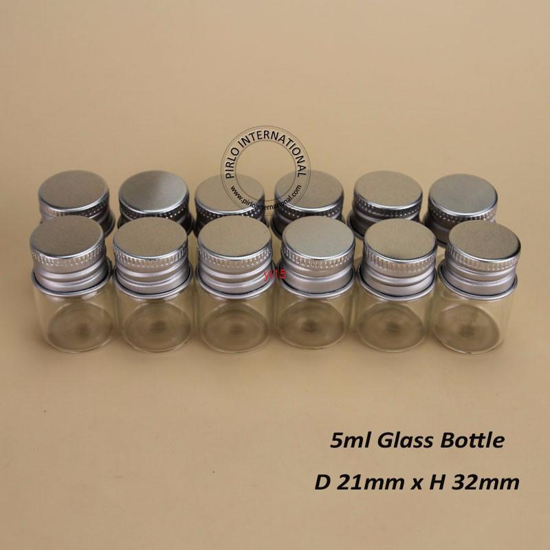 48 adet / grup 5 ml Cam Kozmetik Kavanoz 5g Boş Konteynerler Numune Şişesi Alüminyum Kapaklı Küçük 1/6 OZ Doldurulabilir Taşınabilir Travelgood Qualitty