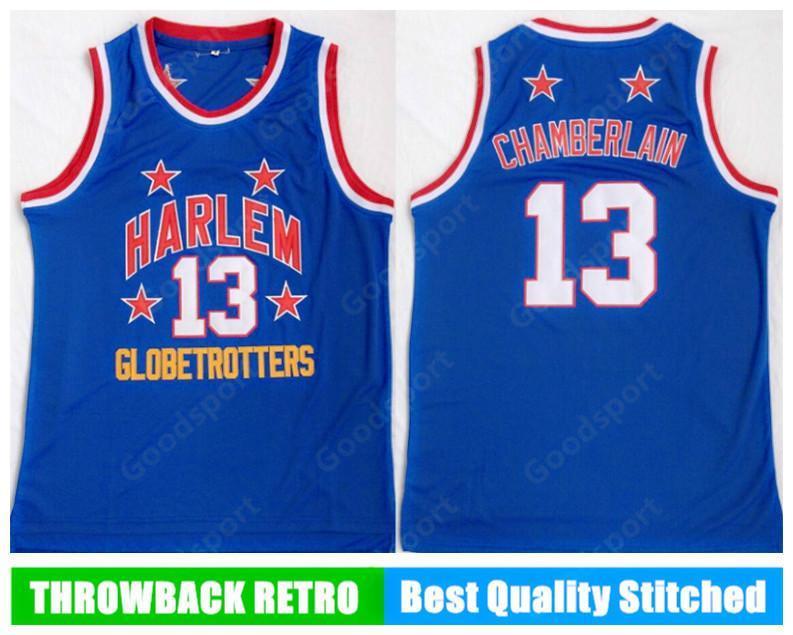 NCAA Harlem Globetrotters Dikişli 13 Wilt Chamberlain Nakış Swingman Formalar Jersey Gömlek Ucuz Bütün Spor Basketbol Gömlek Hız