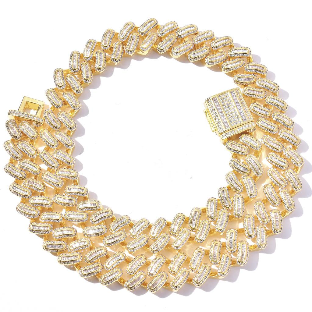 Alta calidad Hip Hop Square redondo Zircon incrustado con incrustaciones de 15 mm collar cubano para hombres europeos y americanos Moda Marcas de moda Hiphop Street Style Acces