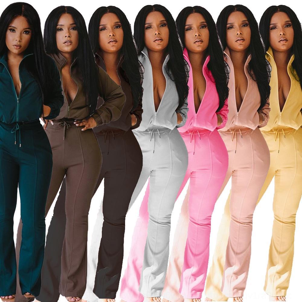 PC4Z Ropa de primavera Mujeres 2 Pantalones Piedra Pieza Conjunto Largo Cintura Cintura Leggings Pocket Dos Trajes Traje Vendaje Mangos Elásticos Pantalones F