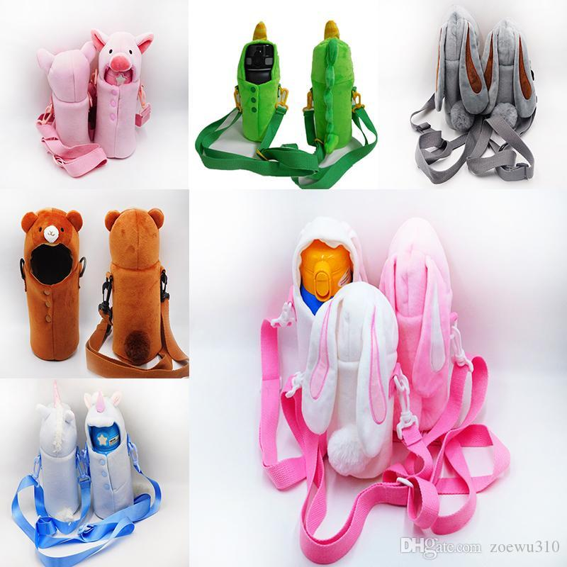 Cute Cartoon Water Bottles Cover Sleeve Heat Insulation Anti-fall Water Bottle Universal Bags Hairy Protective Thermos Cup Strap Bag YL0126