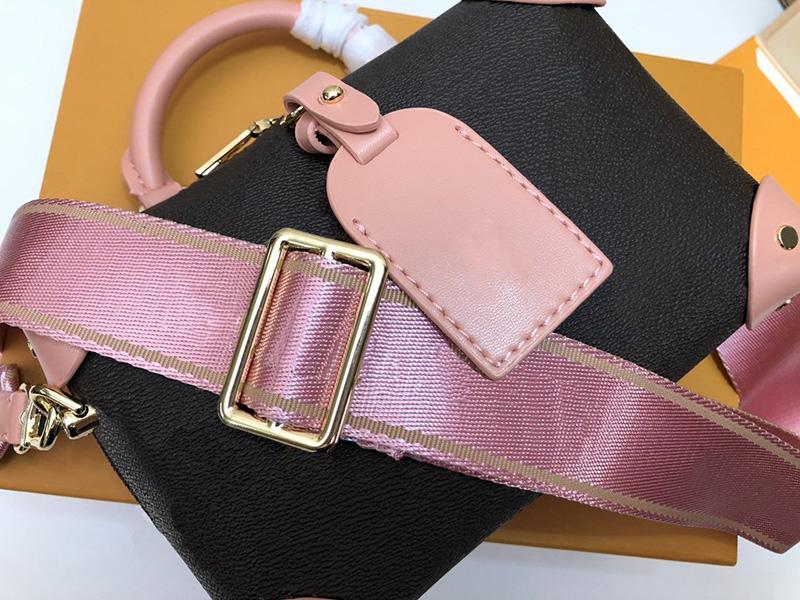 Diseñador de moda Mujeres Bolsos Mini Petite Malle Souple Peach Canvas Cuero Cuero Bolsos de Hombro Mejor Calidad Bolsa Crossbody con caja