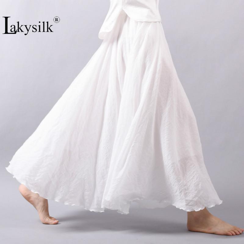 Урожай женская хлопчатобумажная льняная юбка с высокой талией элегантный сексуальный сплошной белый черный плиссированный юбки женские макси юбки женщин длинные юбки Y200704