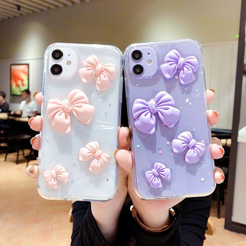 جميل القوس الهاتف القضية الايبوكسي شفاف ثلاثي الأبعاد فراشة الهاتف القضية للحصول على 12 XR 7 8 زائد XS MAX