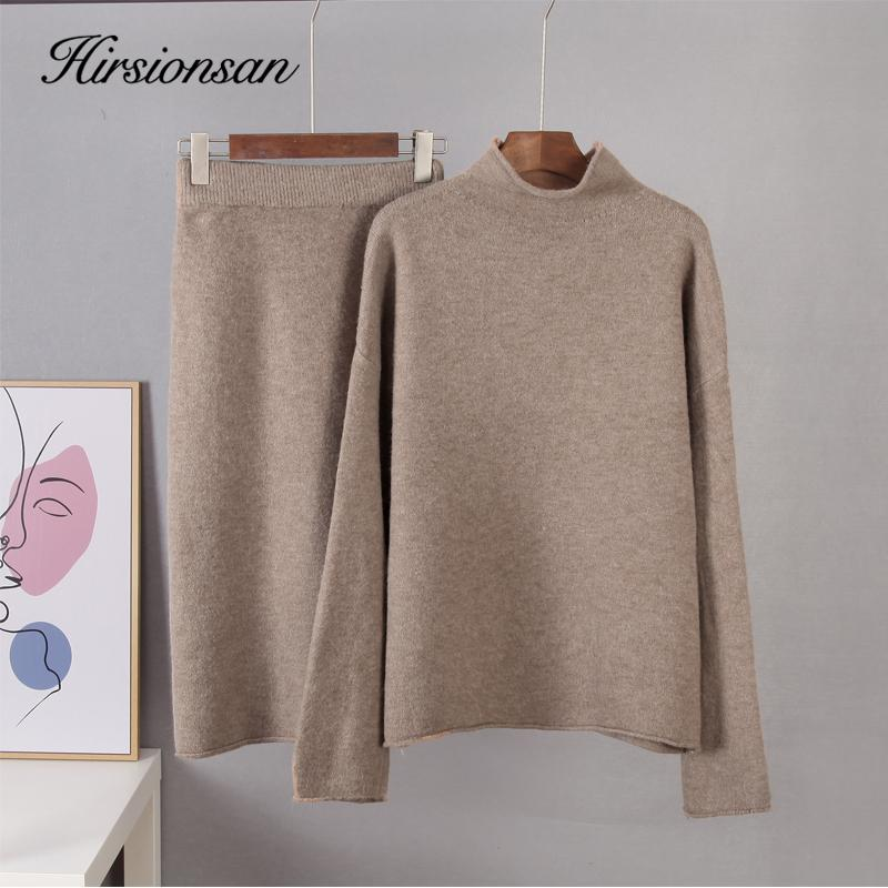 wholesale Elegant Knitted Sweater Skirt Suits Women Soft Sexy Female Sets 2 Pieces Slim Fit Skirt and Loose Tops Ladies Ourfits