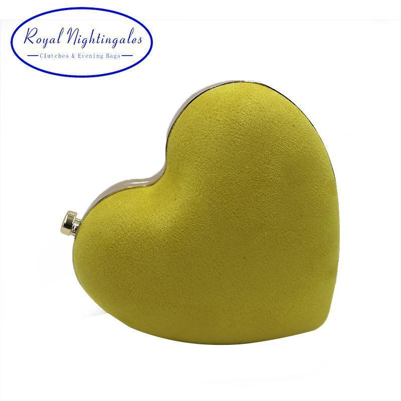 Royal Nightingales Mini corazón embrague monederos de gamuza terciopelo amarillo rojo bolsos de noche y bolsos para mujer fiesta prom 1
