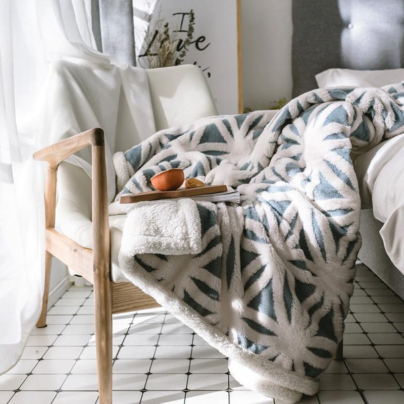 Doppio addensare agnello in cashmere divano divano da viaggio da viaggio coperta coperta rosa coperte da caffè pelle coperte per bambini involucro