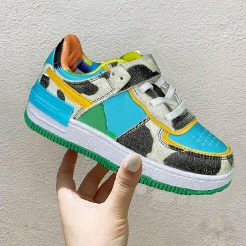 2021 أحذية كرة السلة الجديدة مكتنزة دانكي jumpman منخفض الجلود الآيس كريم الفتيان الفتيات سكيت أحذية أحذية حجم 24-35 حذاء