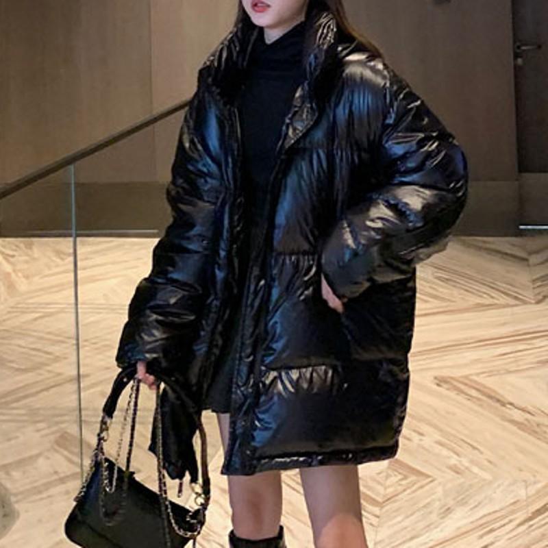 여성용 파카 여성 재킷 대형 중간 길이 한국어 스타일 느슨한 코튼 옷 여성 코트 가을 겨울 DT042
