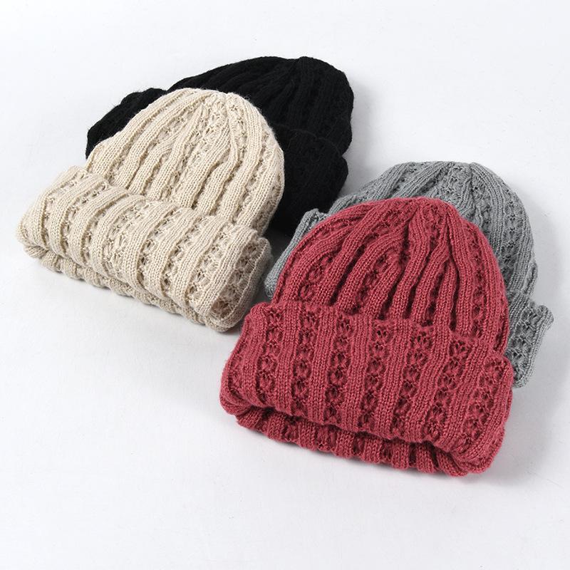 Nova mola de inverno mola de malha beanie para as mulheres engrossar morna de tricô mulheres chapéu tampas meninas chapéus cor sólida C135