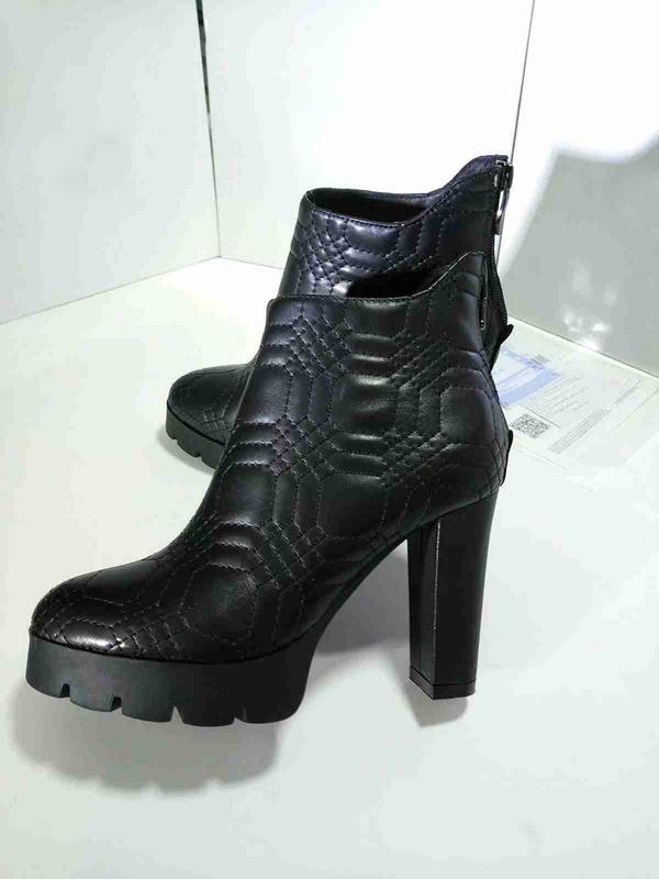 Fashion New Womens Ankle Boots Inverno Martin Antiskid Knight Couro de Vaca de Couro Plataforma Botas Preto Sapatos Tamanho 35-40