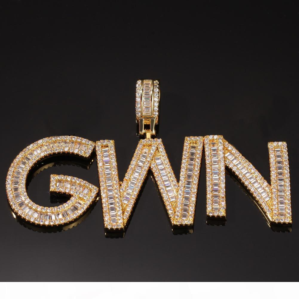 HIP HOP Nom personnalisé Baguette Lettres Pendentif Collier avec chaîne de corde gratuite Gold Silver Bling Bling Zirconia Hommes Pendentif Bijoux