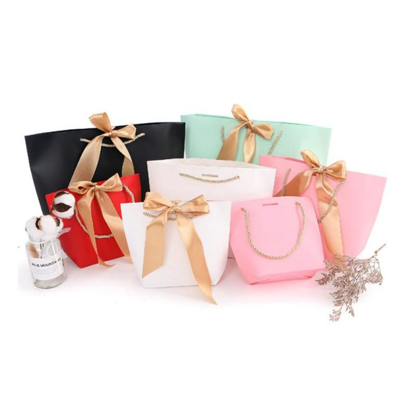 5 Colors Paper Gift Bag Boutique Clothes Packaging Shopping Bags for Birthday Present Wrap with Handle