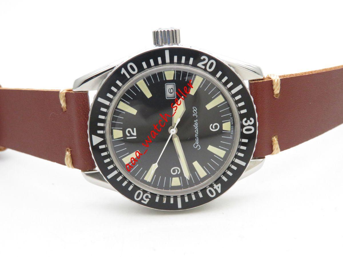 3 Arten Vintage Luxury Herren Uhren SM300 165024 165.024 Militärzifferblatt 2836 Automatische Bewegung Brauner Lederband Sport Armbanduhren