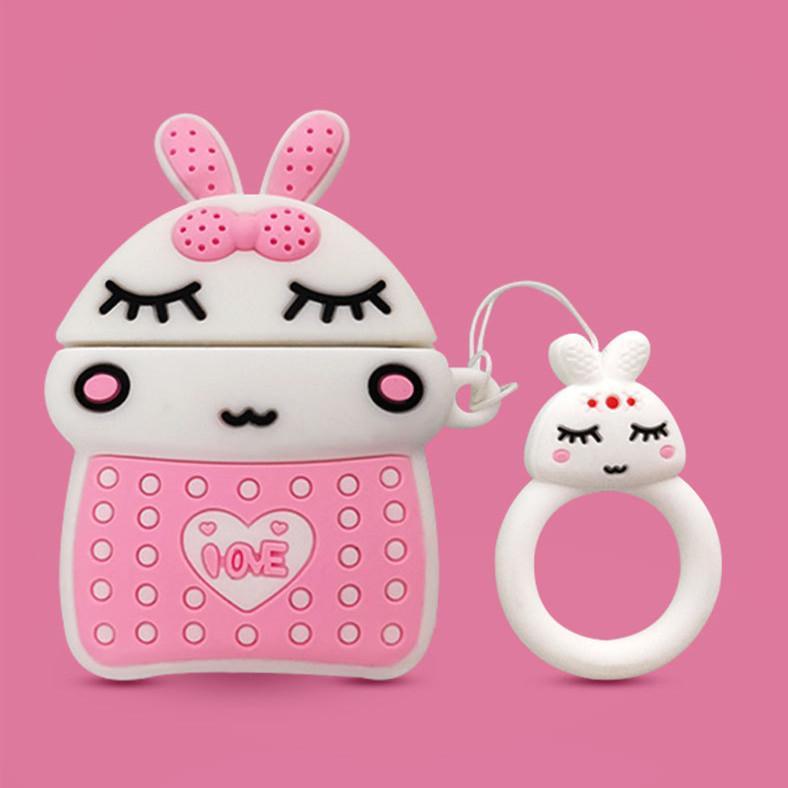 3D Cartoon-Kaninchen-kabelloser Bluetooth-Kopfhörer-Hülle für Airpods 1. 2. Generation Fall für Apple Airpods 1 2 3 Abdeckung Zubehör DHL 100pcs
