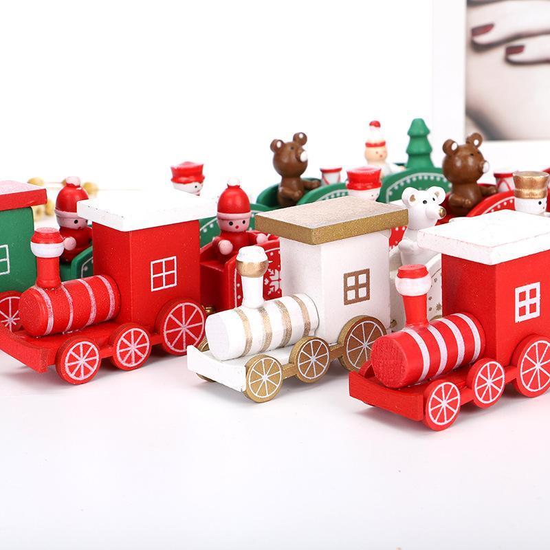 جديد عيد الميلاد قطار خشبي الأطفال هدايا عيد الميلاد الأخضر / أبيض / أحمر عيد الميلاد الخشب قطار ندفة الثلج رسمت عيد الميلاد ديكور زخرفة