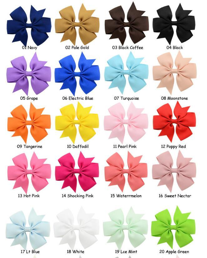 3.1INCH Hårbåge Solid Grosgrain Ribbon Bows Clips Girl's Rainbow Color Hairpins Boutique Hair Clip Headware Kids Hair Tillbehör