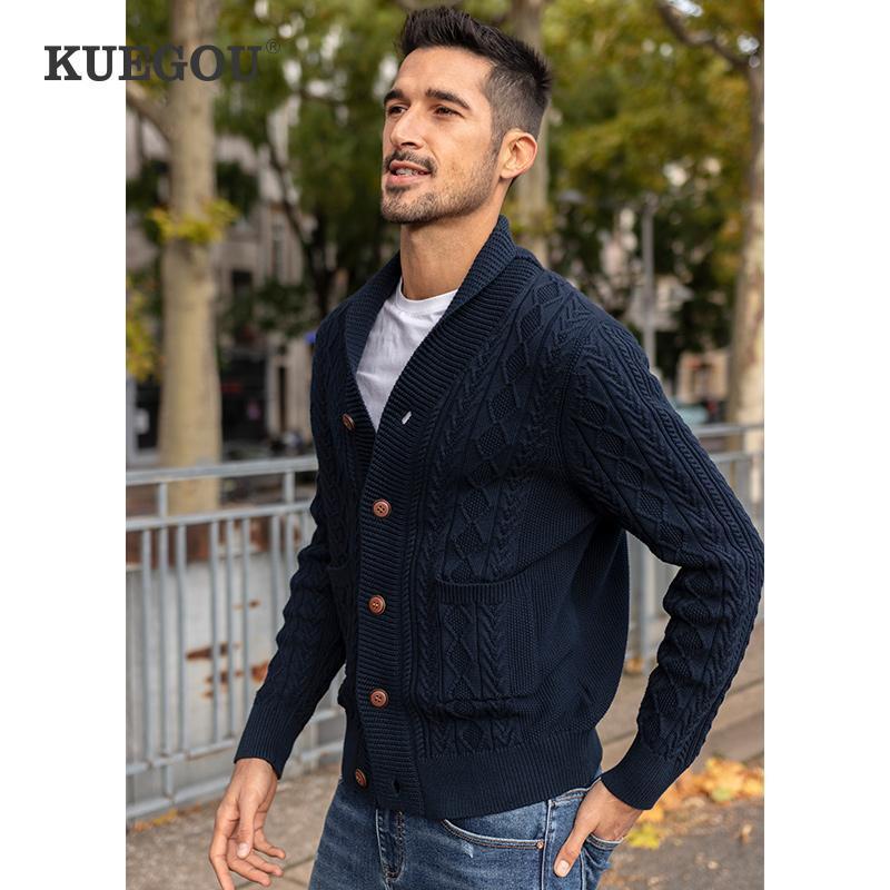 Kuegou 100% algodón ropa de otoño collar de chal hombre suéter grueso abrigo Streetwear de moda de moda Hombres retro Outwear Top 2201