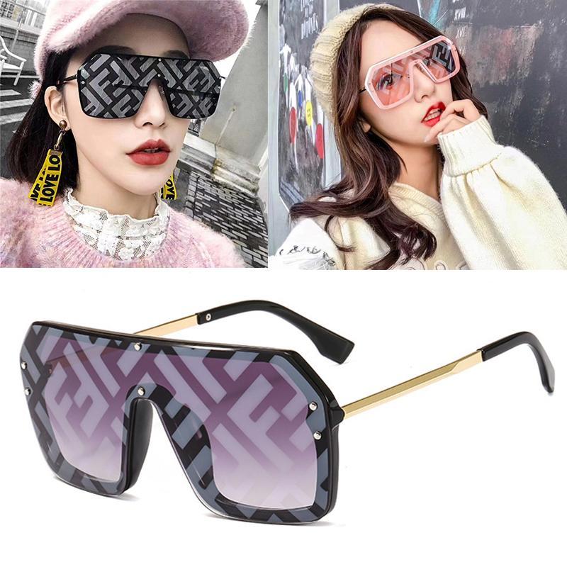 Occhiali da sole sovradimensionati quadrati Occhiali da sole in bicicletta sfumature di moda occhiali moda lettere per le donne UV400