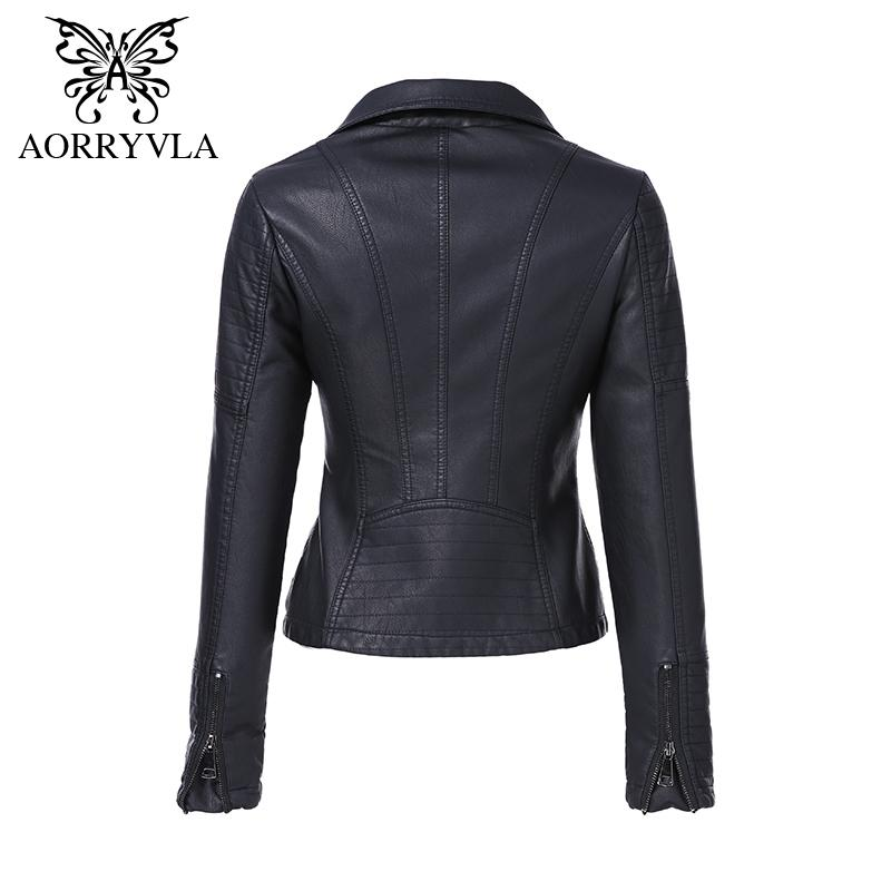 AORRYVLA Yeni Bahar Sonbahar kadın Moto Biker Fermuar Ceket Dinsiz Yaka Siyah PU Faux Deri Ceket Ince Lady Temel Coat 201007