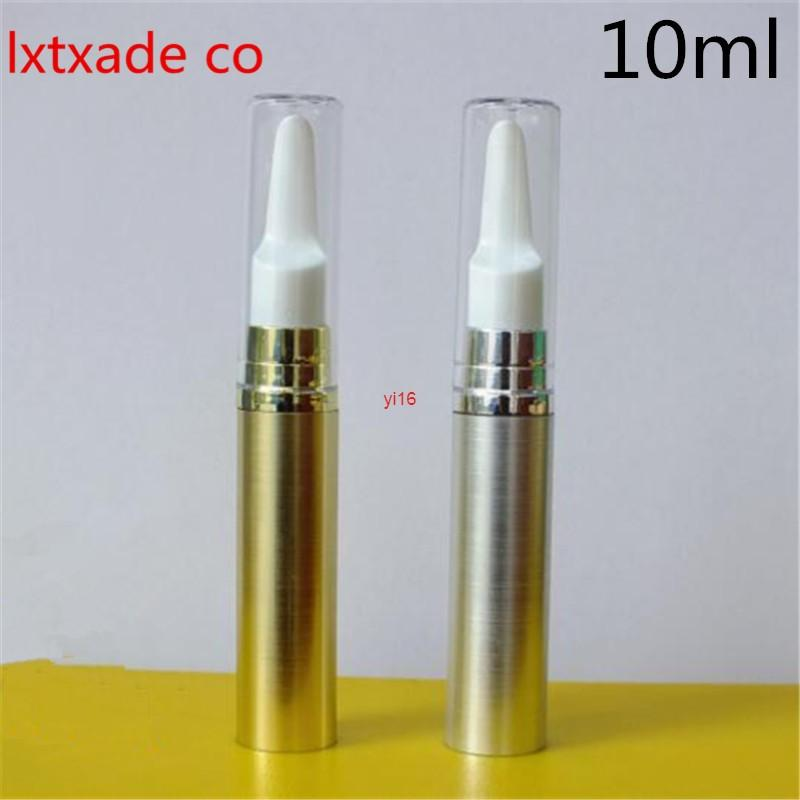 Expédition rapide Livraison gratuite 10ml Gold Silver Pack Vide Pack Pump Pump Pump Pump Top Grade Revillable Mini Gel Eye Gel Essentiel Contenants Cosmétiques essentiels