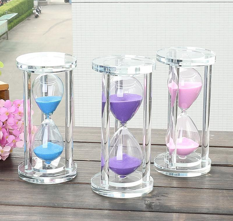 15/30/60 Minutes Cylindrical Crystal Hourglass, Mini Timer Glass Crafts, Valentin sqcgKX dh_seller2010