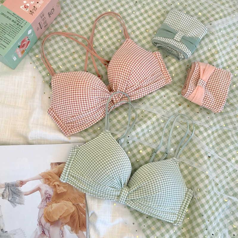 ROSHEART Damenmode Rosa Grün Gepolsterte BH Schöne Mesh-Höschen Wireless Underwear Sexy Dessous Setzt A B Japanisch