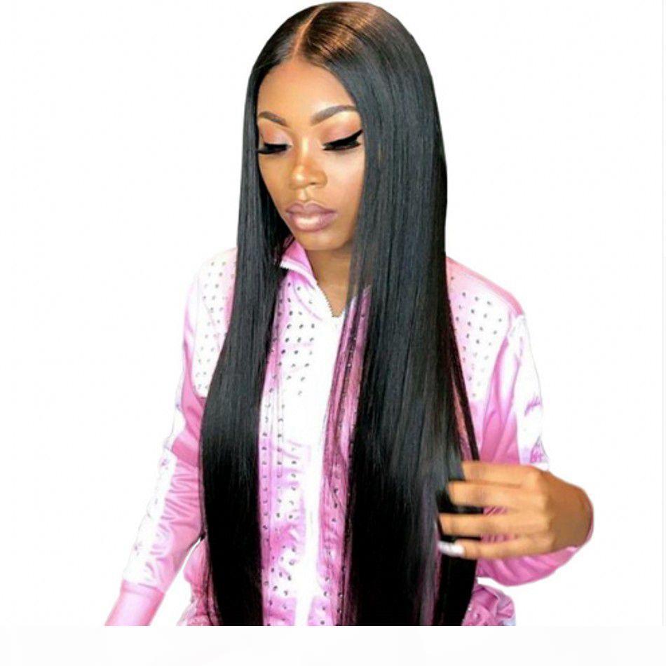 Gerade volle Spitze-menschliche Haarperücken mit Baby-Haar-indischen Haaren vorgepftete Spitze-Frontperücke 130% Dichte