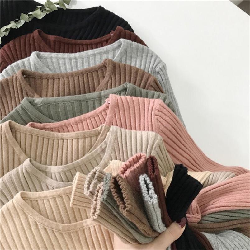Suéter de otoño e invierno Punto fino acanalado de punto de manga larga Cuello alto delgado Suéter apretado 201223