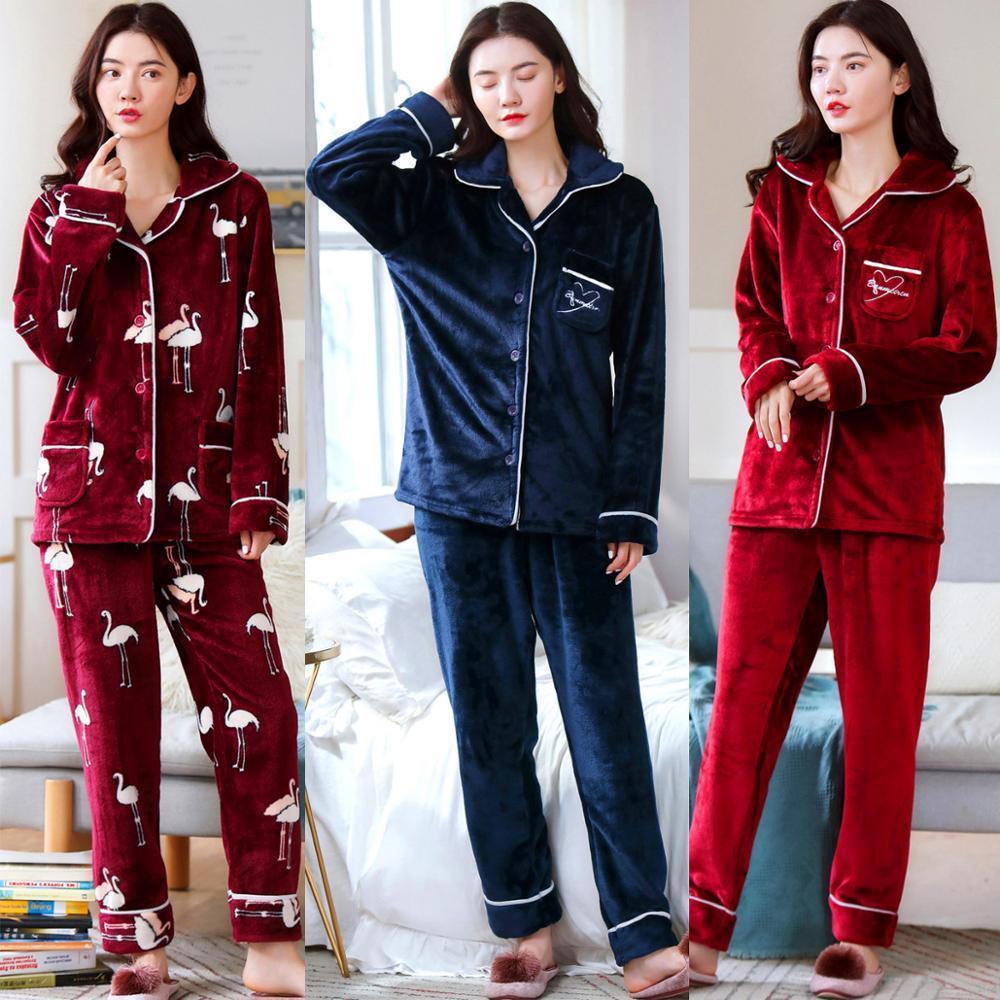 2 штуки зимние женщины утолщены теплые мягкие пижамы женские фланелевые пижамы набор Mujer с длинным рукавом для девочек женские пижамы Q1201