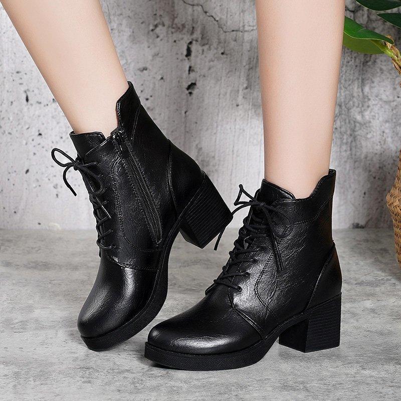alta calidad del cuero de plutonio del tacón alto de 2020 tapa del cordón de las mujeres de la moda hasta el tobillo negro zapatos de la oficina mujer botas de agua dwaterproof 41
