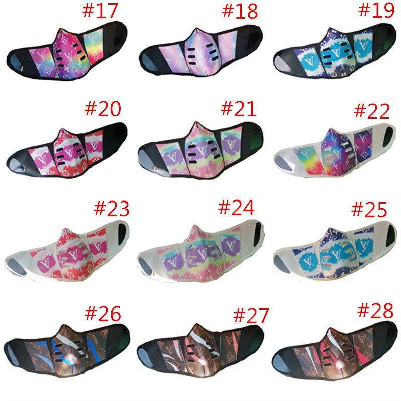 Masques à la mode anti-buée Unsiex PU de protection en cuir anti-poussière Imprimer Hommes Femmes Bouche Couverture Lavable Sports de plein air Visage Ma