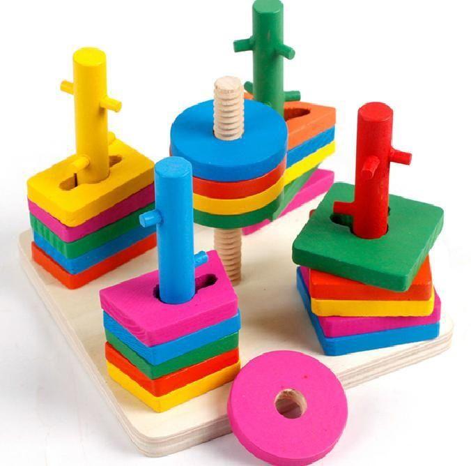 Kinder Puzzle-Säule Erleuchtung Frühkindliche Bildung Baby Geometrische Intelligenz-Board-Form passender Bausteinspielzeug