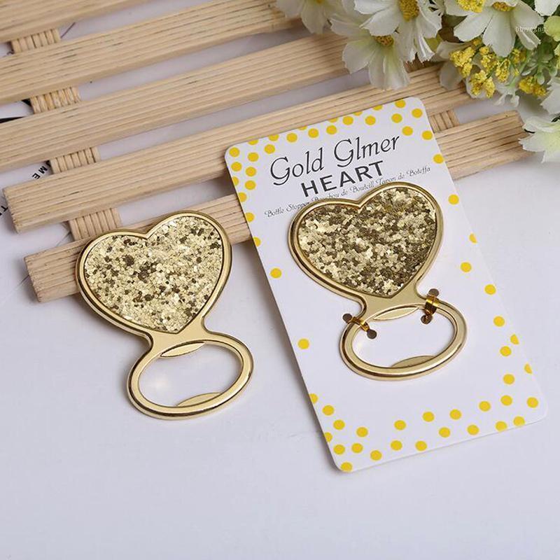 10pcs / lot Nouvelle arrivée Gold Glitter Coeur Coeur Ouvre-bouteille De MariéeBridal Douche Favors Fête Cadeaux1